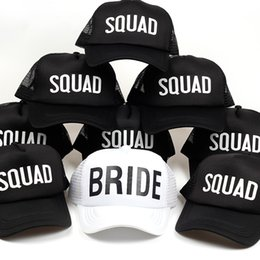Wholesale bridal shower gifts bride - 2018 new glitter black bride squad baseball cap Bachelorette wedding favor gifts bridal shower party cap hats