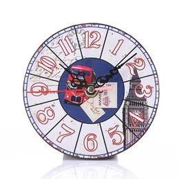 Wholesale Clocks European Vintage - 3D Clock Effect Wooden Clock Modern Design Retro Vintage Rustic European Circular