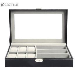 Canada Multi-fonctionnelle simple couche 6 table + 3 grille fentes en cuir boîte de montre en cuir bijoux affichage titulaire de lunettes de soleil cas organisateur de stockage Offre