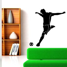 Wholesale football room designs - Wholesale Soccer Players Football Wall Stickers Home Décor For Kids Room Sport Football Sticker Boy Bedroom Wall Decal