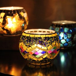 Wholesale Wholesale Bowl Candle Holder - Mosaic Vintage Design Candle Holders For Western Restaurant Party Romantic Decoration Colorful Multi Style Candlestick New 13 2zb Z