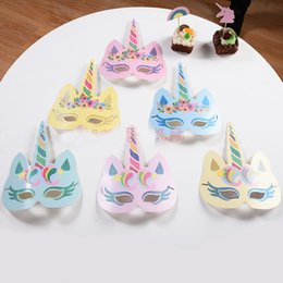 Wholesale Wholesale Kid Paper Hat - Fashion Glitter Unicorn Paper Mask Kids Adult Party Birthday Hat Cosplay Costume Character Accessories Gifts HH7-477