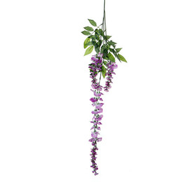 Canada Gros-Vente chaude 12 pcs Soie Wisteria Fleurs Vigne Accueil Hôtel Décor Suspendu Plante Artificielle Guirlande De Fête De Mariage supplier artificial hanging plants wholesale Offre