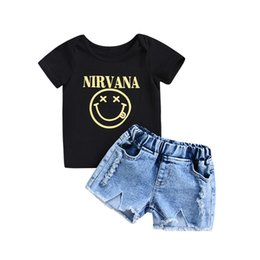 Wholesale boys jean sets - Mikrdoo Kids Baby Boy Girl 2PCS Clothes Set Letter Print Smile Short Sleeve T-shirt Top Short Jean Outfit Toddler Baby Casual Clothing