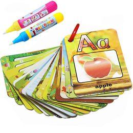 tarjetas para palabras Rebajas Tarjeta de libro de Graffiti de pintura al agua 26 cartas Educación temprana de Chidren Tarjetas cognitivas alfabeto de letras A-Z Coloring Doodle Board