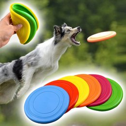 Wholesale fly pets - 6 Colors Pet Puppy Silicone Flying Disc Dog Chew Toy Durable Indestructible Strong Flying Disc Pet Training Fetch Toys AAA433