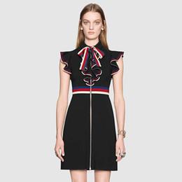 Vestidos para mulheres jovens on-line-Marca Designer Mulheres Runway Shirt Dresses 2018 Moda Verão Jovem Senhora Turn Down Collar Ruffle Mangas Formais Estilo Zipper Vestidos Midi