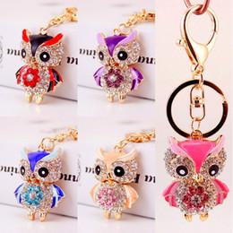 Wholesale Cute Animal Crafts - Creative Cute Diamond Owl Car Key Chain 5 Styles Metal Animal Key Chain Car Key Car Handbags Pendant Crafts Keychains Free DHL D956Q