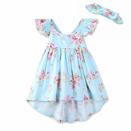 Wholesale Wholesale Country Floral - Wholesales Baby Girl Halter Backness Dress Children's Girl Clothing Country Style Flower Printed Kids Dresses For Girls