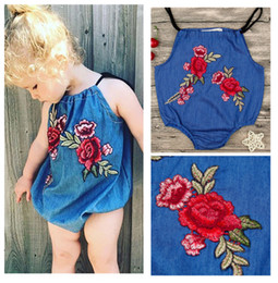 Wholesale Denim Baby Rompers - 2018 Girls Baby Rompers Cute Toddler Romper Clothing Summer Denim Suspender Infant Onesies Peony Embroidered Girl Babies Boutique Clothes