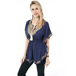 Wholesale Ladies Batwing Sleeve - 2018 Beauty Garden Women T-Shirts Short Sleeve Pattern O-neck Casual T shirt Female Tees Cotton Elegant Ladies Tees Tops