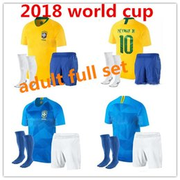 Wholesale National Team Soccer Uniforms - 2018 world cup Brazil Soccer Jerseys set with socks COUTINHO G.JESUS Brasil national team home yellow neymar jr Football uniform full kit