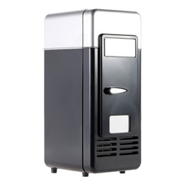 Frigoríficos azules online-Mini USB Refrigerador Refrigerador Bebidas Bebidas Latas Más frío Calentador Luz azul LED