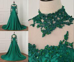 Canada Véritable photo styles de dentelle nigérian africain vert foncé robes de soirée manches longues élégantes robes formelles pas cher une ligne perles de satin robe de bal cheap elegant dark green gowns Offre