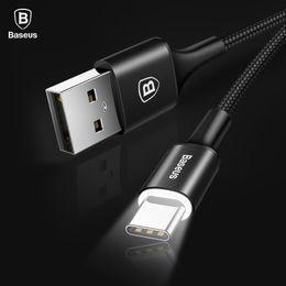 telefones celulares importados Desconto Baseu LED tipo de luz usb c cabo de 2.0a sincronização de dados carregador de carregamento usb-c tipo-c cabo para samsung s9 xiaomi huawei cabo adapater