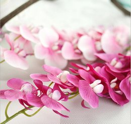Wholesale Orchid Heads - Real touch artificial single orchid silk flowers 8 colors 11 heads for wedding party centerpieces home holiday decoration 18901