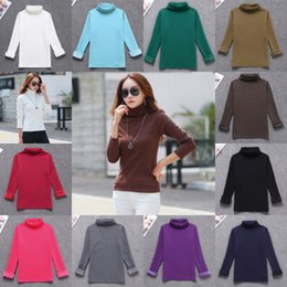 camiseta de mujer caliente Rebajas Las mujeres de moda de cuello alto de manga larga otoño invierno grueso cálido algodón sólido Slim Fit camisetas suéteres FS5971