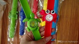 Wholesale Silicone Ear Clip - Cute Slap watch Ocean animal series kid Slap wristwatches Cute Crab Shark dolphin Fish Snap Slap watch Silicone Candy Watch Quartz Watches