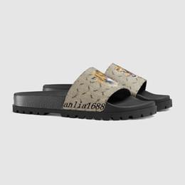 Mens e womens moda Trek tigre impressão de couro sandálias de slides chinelos com sola de borracha grossa navio com caixa preta branca cheap white thick sole sandals de Fornecedores de sandálias brancas de sola grossa
