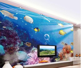 Wholesale natural style landscaping - wallpapers for living room 3D underwater world TV backdrop 3D natural landscape background wall painting