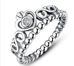 anillos de boda de estilo corona Rebajas 925 Anillos de bodas de plata para mujeres Estilo Pandora Anillos de princesa Tiara Crown Wedding Engagement Ring R217
