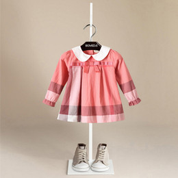 Wholesale Long Line Dress Watermelon - 2018 NEW arrival Hot selling spring Girls long Sleeve princess plaid doll collar dress high quality cotton baby kids ruffle dress