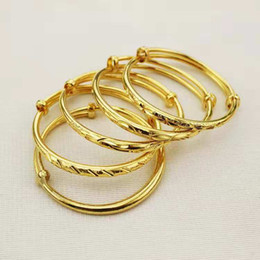 Bracelets plaqués or 24 carats en Ligne-Joli bébé Bracelet Bracelets Haute Qualité 24K Or Jaune Plaqué Étoiles Bracelets Bracelet pour Bébés Enfants Beau Cadeau