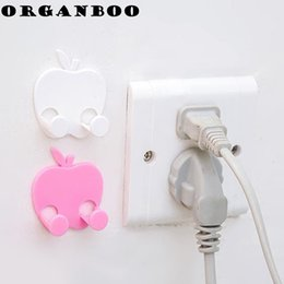 Wholesale apple finish - ORGANBOO 2PCS Apple-type socket power cord storage rack multi-functional 3M glue hook finishing wall hook for hanging