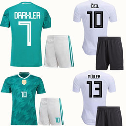 Wholesale Home Wearing - 2018 World Cup Team Soccer Sets OZIL MULLER GOTZE KROOS REUS Football Kit GerMANy Home Away Green Soccer Set Adults Thai Quality Wears