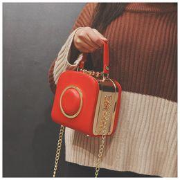 Wholesale Girls Camera Phone - Camera Fashion Handbags Women Chain Messenger Shoulder Bag for Girls Leather Lolita Crossbody bag 16x15x10cm