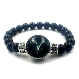 Wholesale zodiac bangle bracelet - 2018 Black Round Obsidian Bracelet Jewelry 12 Zodiac Sign Snap Button Bracelet Bangle For Men & Women Valentine's Gift A18009