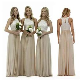 Vestidos de dama de honor de Boho Beach 2019 una línea cabestro piso de longitud vestidos de dama de honor con pliegues de encaje vestidos de boda de gasa invitados desde fabricantes