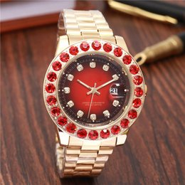 Wholesale ruby blue - Business Diamond Watches women Luxury brand Automatic calendar big ruby Rhinestone red dial Ladies Rose Gold Watch aaa Stainless steel clock
