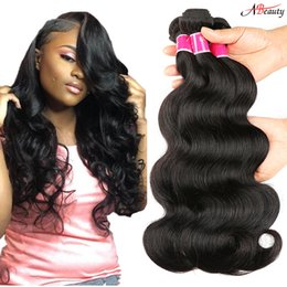 Wholesale natures hair color - 8A Brazilian Body Wave Hair Bundles Unprocessed Mink Brazillian Peruvian Indian Malaysian Body Wave Remy Human Hair Extensions Nature Color