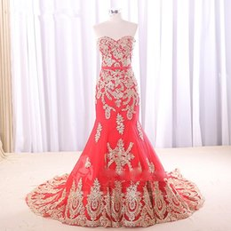 Wholesale Vestido Noiva Manga - Red Wedding Dress with Gold Appliques 2018 Special Design New Coming Sweetheart Mermaid Gowns vestido de noiva sem manga L281