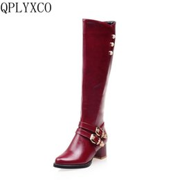 e5d8e7ddb9a QPLYXCO 2018 fashion Super Small  Big Size 31-52 knee-high Boots Autumn  Winter Warm high heels shoes Woman High quality L-1 knee high boots small  heel for ...