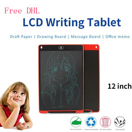 Wholesale Black White Painting Set - Free DHL 12 Inches Digital Drawing Pads LCD Hand writing Tablet Graphics Board Painting Writing Message Board for Kids Gifts