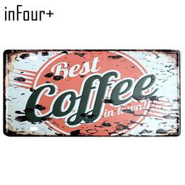Meilleures plaques d'immatriculation en Ligne-[inFour +] Hot Meilleur Café Plaque En Métal Plaque Numéro De Voiture Signe En Étain Bar Pub Café Décor À La Maison En Métal Signe Garage Peinture Plaques