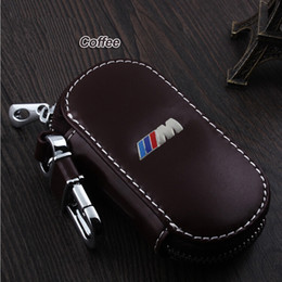 Wholesale Bmw Leather Holder - Key Rings Genuine Leather car Key fob case cover for BMW Series 520 GT New 1 3 7 Series X3 Smart keychain ring key holder bag Accessories