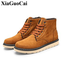 Wholesale Men Wearing Slips - New Lace-up Ankle Boots Men Casual Shoes Winter Fleeces Snow Boots High Quality Non-slip Wear-resistant Solid Cotton Shoes H590