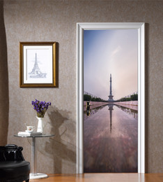 Wholesale art reflection - 77*200cm Reflection of Iron Tower in Water Oil Paintting Wall Sticker Wallpaper Door Stickers Home Decor