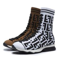 Botas de terciopelo online-Calcetines de lana elástica de las mujeres de punto botas cortas de terciopelo aumento Clásico de lujo de la marca de moda Simple guapo sexy botas de caballero más el tamaño