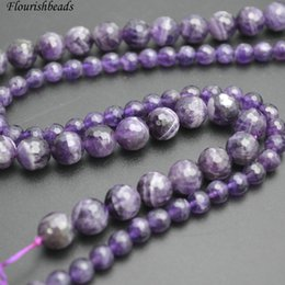 Wholesale Faceted Amethyst Beads - Faceted Natural Amethyst Stone Round Loose Beads 4mm 6mm 8mm 10mm 12mm