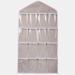 Wholesale Drop Hangers - Wholesale-16Pockets Clear Hanging Bag Socks Bra Underwear Rack Hanger Storage Organizer Jun27 Professional Factory price Drop Shipping