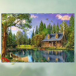 Wholesale High Quality Abstract - Frameless Vivid Diamond Paintings Stereo Lakeside House Pattern Decorative Mural Rectangle Mosaic Cross Stitch High Quality 43kx3 B
