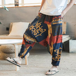 828a6626f7f1 chinese lose hose Rabatt 2018 chinesische neue Mode Männer Vintage  Cross-Pants Baumwolle Hip Hop