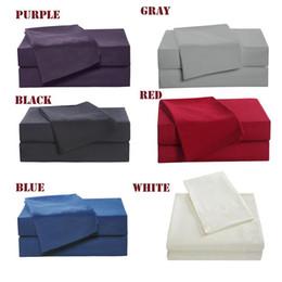 Pelle della lamiera online-Set di biancheria da letto della famiglia 4 pezzi Include lenzuola Lenzuolo di lenzuola piatte Due federa Morbida set di biancheria da letto in morbida pelle