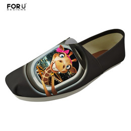 Wholesale Giraffe Lighting - wholesale Cartoon Cute Giraffe Printed Fashion Girls Canvas Shoes Flats Casual Brand Light Slip-on Ladies Loafers Shoes Woman