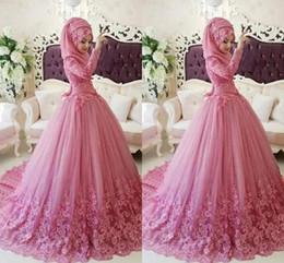 Wholesale hijab bridal dresses islamic - Elegant Lace Appliques Quinceanera Dresses Ball Gown Islamic Bridal Dresses Arabic Muslim Turkish Gelinlik Hijab Long Sleeve Prom Gowns