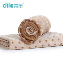 Wholesale Dot Bath Towel - Dile Fashion Baby Solid Color Bath Towel Cotton Dots Breathable infant soft Wash chloths Baby 70 Cm Care Bath Towel
